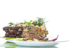 Liver pie layer cake stuffed with carrots Royalty Free Stock Photos