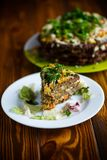 Liver pie layer cake stuffed with carrots Stock Image