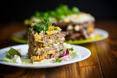 Liver pie layer cake stuffed with carrots Stock Photo