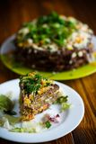 Liver pie layer cake stuffed with carrots Royalty Free Stock Photo