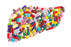 Liver of pills and capsules Stock Image