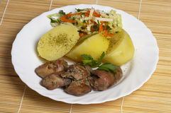 Liver, potato and salad Royalty Free Stock Photos