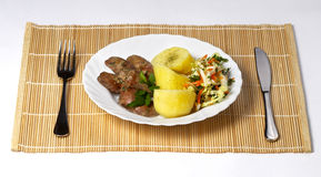 Liver, potato and salad Royalty Free Stock Images