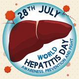 Liver Protected Against Hepatitis Virus, Vector Illustration. Liver being protected by a barrier against hepatitis virus thanks to awareness and prevention in Stock Photos