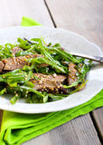 Liver and rocket salad Royalty Free Stock Images