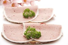 Liver sausage on bread Stock Images