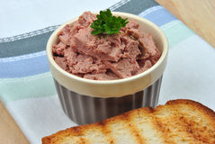 liver sausage and toast bread Royalty Free Stock Image