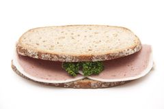 Liver sausage on wheat bread Royalty Free Stock Photo