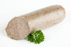 Liver sausage. With white background Royalty Free Stock Photography
