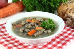 Liver spaetzle soup Stock Photo