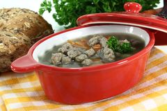 Liver spaetzle soup Stock Images