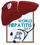 Liver with a Stethoscope and Clipboard Commemorating Hepatitis Day, Vector Illustration Royalty Free Stock Photography
