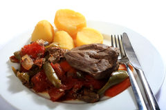 Liver and veg casserole meal Royalty Free Stock Images