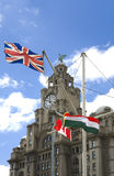 Liverpool. Liver buildings, Liverpool Pier Head one of the 'Three Graces', with Liver bird and clock royalty free stock image