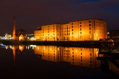 Liverpool Albert Dock and Pumphouse. At night Royalty Free Stock Images
