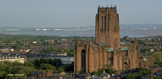 Liverpool Anglican Cathedral from St. John's Beacon stock photo