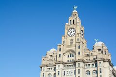 Liverpool Architecture. The Royal Liver Building on a sunny day, Liverpool, Merseyside, UK Stock Photos