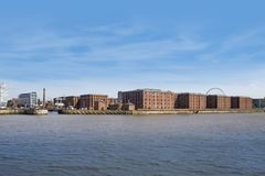 Liverpool waterfront, the Albert dock from the River Mersey. Liverpool as a summer tourist destination. A popular departure point for cruise ships, the stock photography