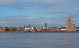 Liverpool Birkenhead waterfront. Wide panoramic view across the Mersey river royalty free stock images