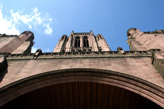 Liverpool cathedral. Looking up at the tower of Liverpool cathedral Stock Photo