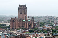 Liverpool Cathedral. Birdseye view of the Liverpool Cathedral in Liverpool, UK Royalty Free Stock Image