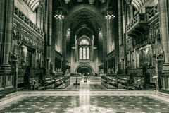 Liverpool Cathedral nave A. ENGLAND, LIVERPOOL - 15 NOV 2015: Liverpool Cathedral nave A stock images