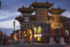 Liverpool - Chinese Arch. United Kingdom England Liverpool Chinatown - The Chinese Arch at dusk. (Liverpool's Imperial Arch) - The largest outside China Royalty Free Stock Photo