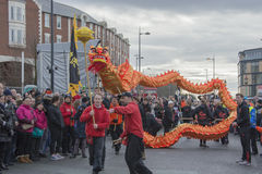 Liverpool Chinese New Year Street Parade. LIVERPOOL, UK, 2017. Street parade to mark Chinese New Year, the year of the cockeral in Liverpool. The Chinatown in Stock Images