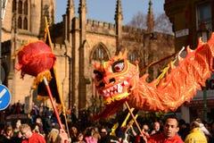 Liverpool-Chinesisches Neujahrsfest - heraus anstarrend Sie Stockbild