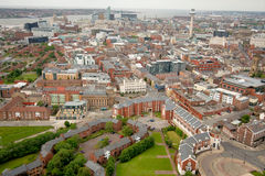 Liverpool City Centre  Aerial. Aerial view of Liverpool city centre, looking towards the mouth of the River Mersey, the Royal Liver Building and the dockland Stock Images