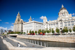Liverpool city centre. Three Graces, buildings on Liverpool's waterfront, UK royalty free stock photos