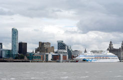 Liverpool city centre vista from river Mersey Stock Image