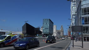 Liverpool city has more listed buildings outside London than any other 4K. Liverpool city has many new modern buildings being built 4K stock footage