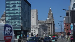 Liverpool city has more listed buildings outside London than any other 4K. Liverpool city has many new modern buildings being built 4K stock video footage