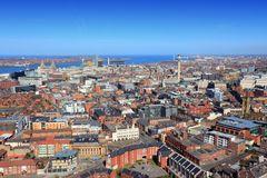 Liverpool. City in Merseyside county of North West England (UK). Aerial view royalty free stock images