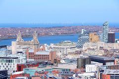 Liverpool. City in Merseyside county of North West England (UK). Aerial view with downtown and famous Pier Head UNESCO World Heritage Site royalty free stock images