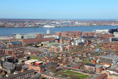 Liverpool. City in Merseyside county of North West England (UK). Aerial view with famous Albert Dock UNESCO World Heritage Site stock image