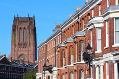 Liverpool. City in Merseyside county of North West England (UK). Cityscape with  Cathedral stock photo