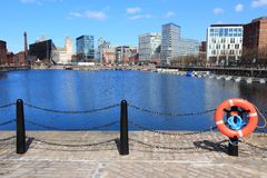 Liverpool. City in Merseyside county of North West England (UK). Pier Head district, part of UNESCO World Heritage Site. Salthouse Dock Stock Photos