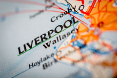 Liverpool City on a Road Map Royalty Free Stock Image