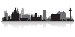 Liverpool England city skyline silhouette. Liverpool city skyline silhouette background vector illustration Stock Images
