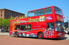 Liverpool city tour bus. Stock Photography