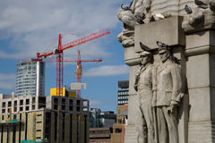 Liverpool Cityscape. View of liverpool monument and construction site Stock Photography