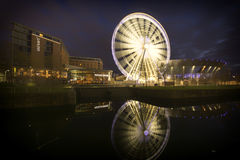 Liverpool Cityscape sunset - Albert Dock reflection Royalty Free Stock Photo