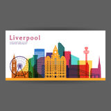 Liverpool colorful architecture vector illustration Royalty Free Stock Images