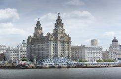 Liverpool, Czerwiec 2014, scena przez Rzecznego Mersey pokazuje molo głowę z Królewskim Wątrobowym budynkiem, Cunard budynkiem i  obrazy stock