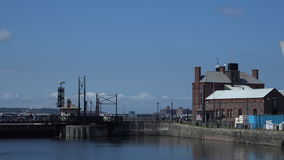 Liverpool dock with pump station4K. Liverpool on a beautiful summer day Albert dock area 4K stock video footage