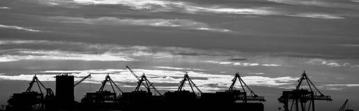 Liverpool docks panoramic, black and white Stock Image