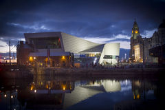 Liverpool at dusk. Night falling at Albert dock, the major UNESCO designated tourist attraction in Liverpool stock photography