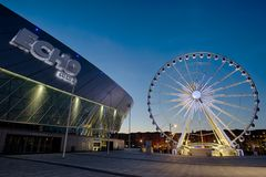 Liverpool Echo Arena and ferris wheel Stock Images